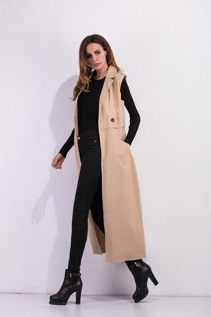 Zioksy 2017 Women X-Long Coat Double Breasted Slim Suit Collar  Soild vest sleeveless Trench Coat Outwears 4