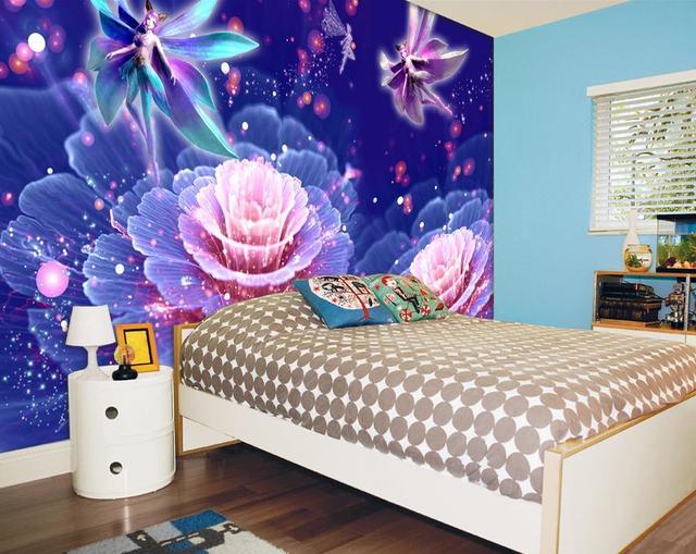 Custom Wallpaper Bright Purple Flowers Elves Backdrop Customized For Walls Mural