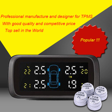 Auto Car Wireless 4 External Sensors Alarm System LCD Display Tyre Tire Pressure Monitoring System for Car TPMS Diagnostic Tool