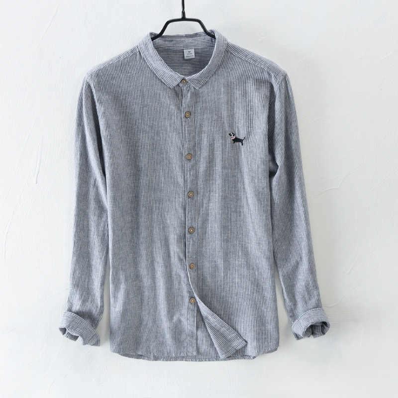 Брендовые льняные хлопковые рубашки, мужские повседневные полосатые рубашки с вышивкой в виде милой собаки, льняные рубашки с длинным рукавом для мужчин, одежда азиатского размера M-3XL