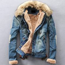 2018 New Winter Ripped Denim Jacket Men Clothese Jean Coat Men Casual Jacket Outerwear With Fur Collar Wool Thick Fleece Jackets(China)