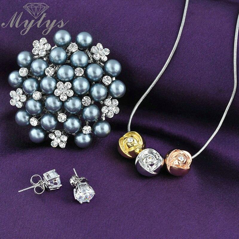 Наборы свадебных ювелирных изделий 1 кулон Цепочки и ожерелья 1 серый  жемчуг Броши и 1 пара кристалл Серьги-гвоздики N807 4e3c6dbf79a