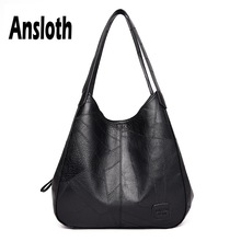 Ansloth PU Leather Handbag For Women Large Capacity Handle Bag Lady Solid Color Shoulder And Handbag Female Simple Tote HPS614
