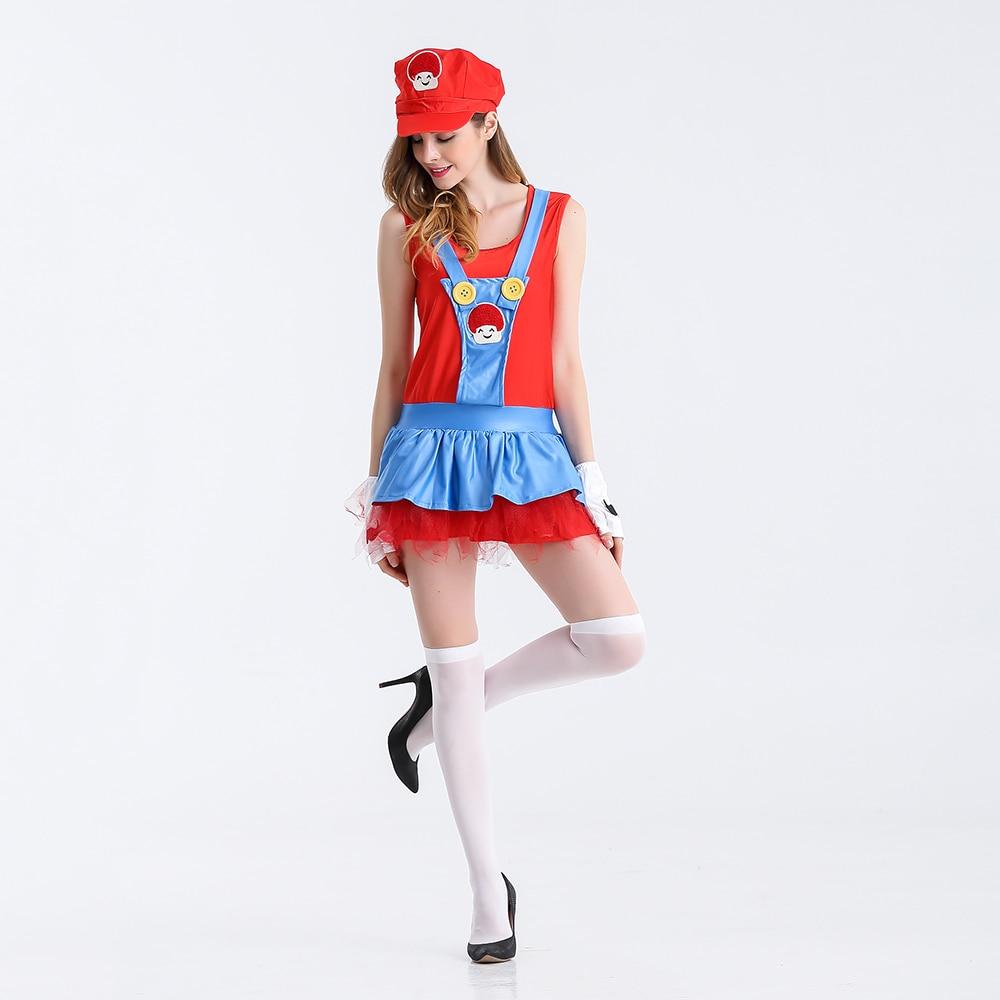 Wanita anime cosplay adult super mario kostum wanita sexy super mario luigi saudara cosplay costume untuk halloween fancy dress di film tv kostum dari