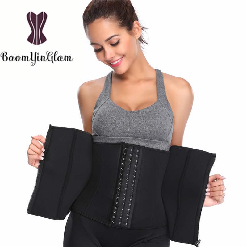 6 Steel Boned Zip Up Waist Trainer Slimming Tummy Belt Modeling Strap Cinchers Body Shaper Neoprene Corset 611#