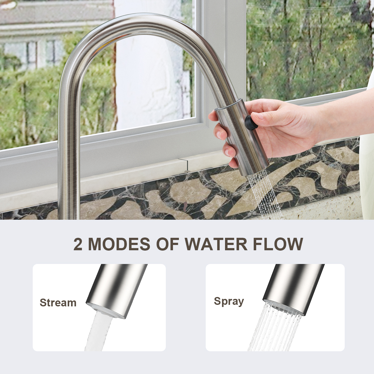Kitchen Pull-Down Sprayer Faucet Tap With 360 Degree Swivel Brass Spout Rotate Faucet Nozzle Tap Kitchen Faucet Accessories