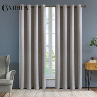 CANIRICA Grey Curtains Blackout Curtains For Living Room Curtains For Bedroom Modern Linen Curtains Finished Blinds Home Decor