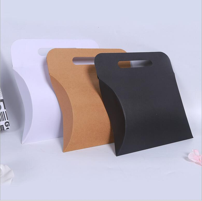 27 19 5 6cm Super large kraft paper pillow gift packing box with handle Large clothing