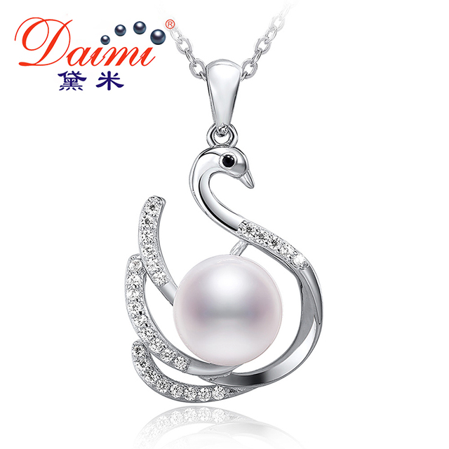 222a115cab59 DAIMI 925 Sterling Silver Swan CZ Pendant necklaces for Women 9.5-10mm Big  White Natural Freshwater Pearl Jewelry