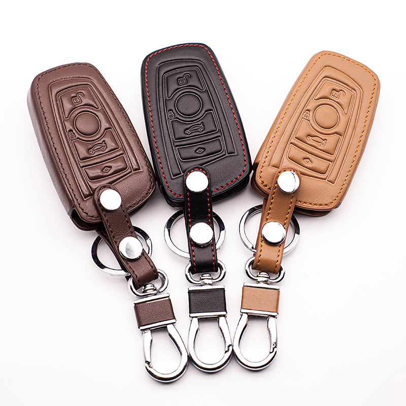 Latest car leather key cover For BMW 5 GT F07 530D F11 F10 520 525 520I E34 E60 E70 3 Button Remote Control Key Auto Accessories image