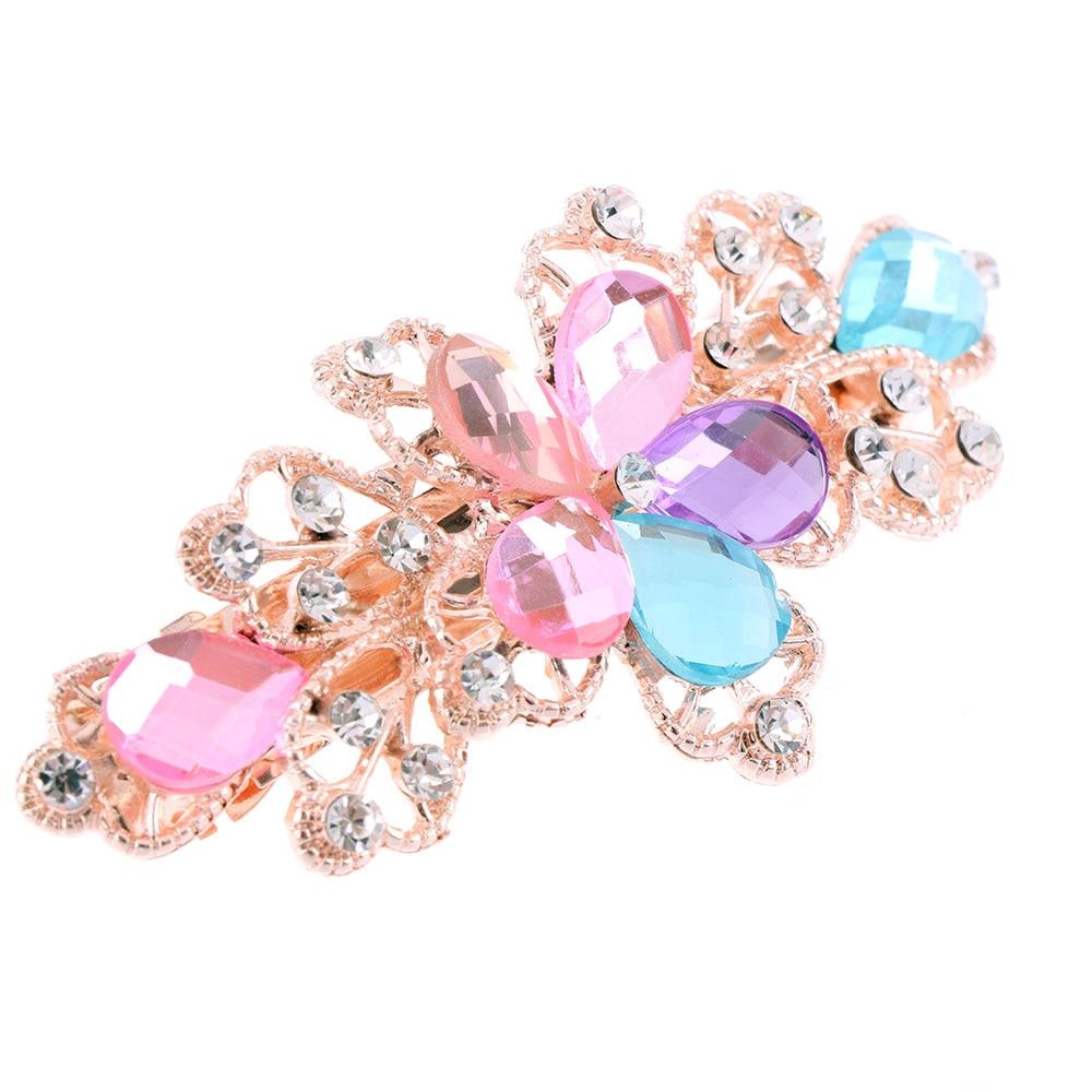 1 PCS Women Girls Fashion Crystal Flower Rhinestone Hair Pins Girls' Hair Band Accessories 5 Colors Available