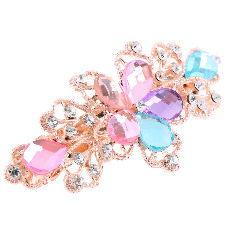1 PCS Women Girls Fashion Crystal Flower Rhinestone Hair Pins Girls Hair Band Accessories 5 Colors Available