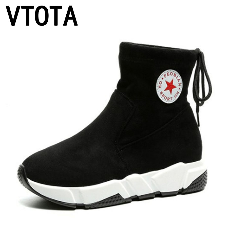 VTOTA Women Ankle Boots Female Lace-Up Autumn Shoes Female Black Brown Casual Platform Shoes Botas Women Winter Boots Botas F11 front lace up casual ankle boots autumn vintage brown new booties flat genuine leather suede shoes round toe fall female fashion