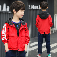 Big boys clothes children jackets 2018 new spring kids autumn outerwear hooded letter pentagram windbreaker male child clothing Outwear & Coats