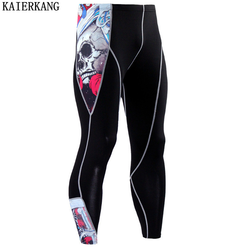 2017 New Fashion Mens Compression Pants 3D Print Quick Dry Skinny Leggings Tights Fitness MMA Pants Stitching Tousers men Pants