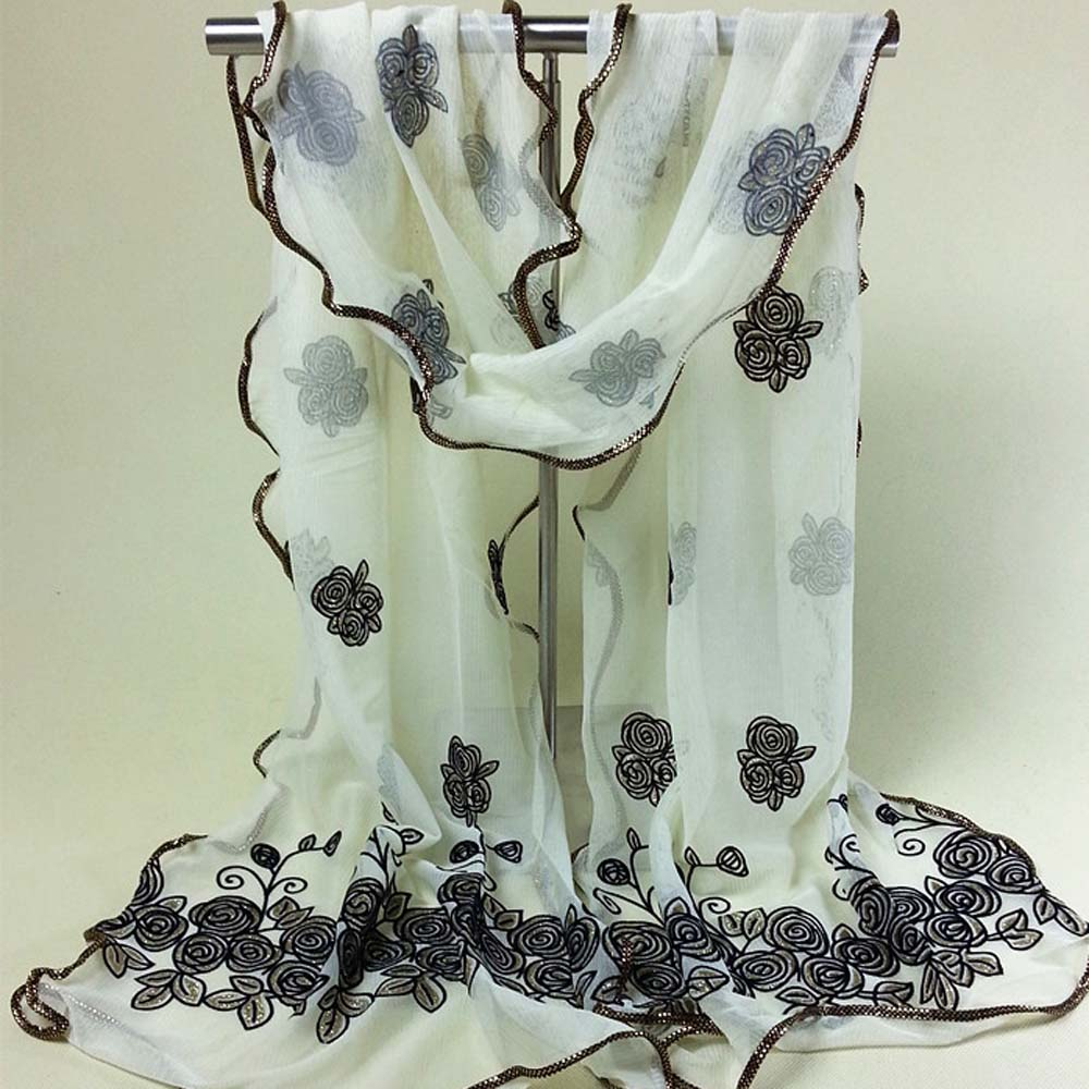 Beach Women Vintage Scarf From India Sexy Brand Poncho Loose Scarves Lace Shawl Gauze Rose Flower Veil Scarfs Wrap 2017 Hot Sale