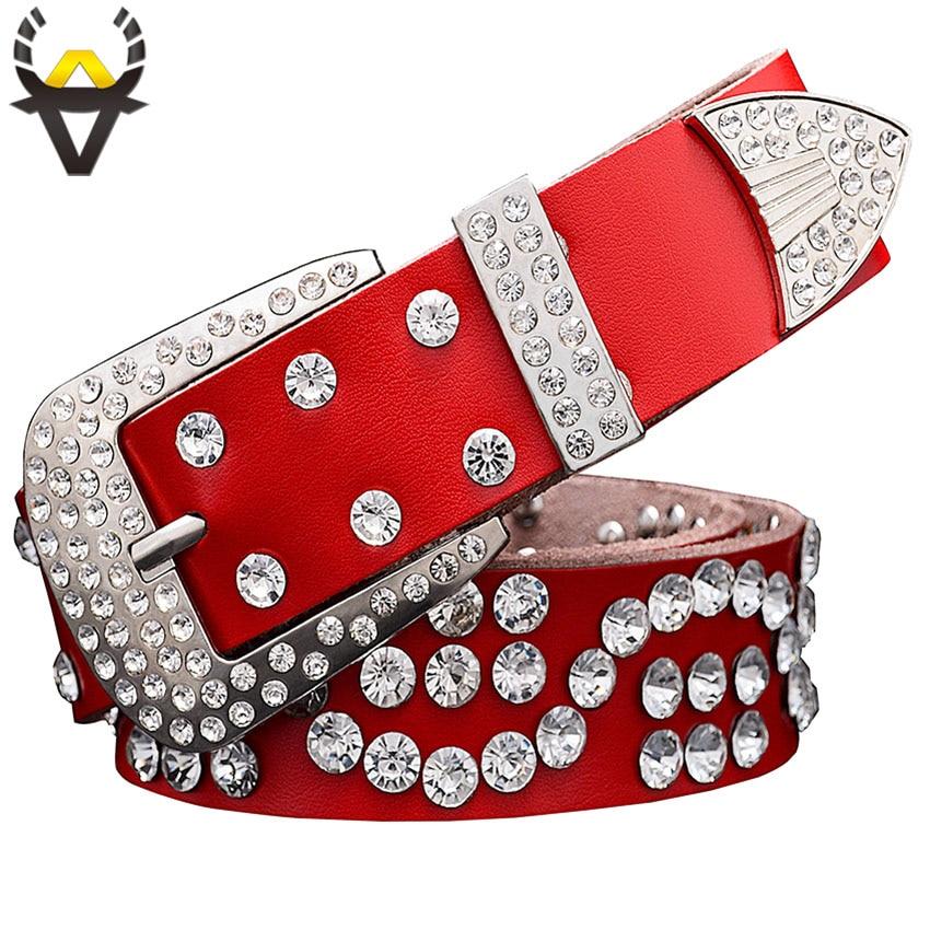 Fashion Genuine Leather Belts For Women Designer Luxury Rhinestone Pin Buckle Belt Men Quality Cow Skin Unisex Girdle Width 3.3