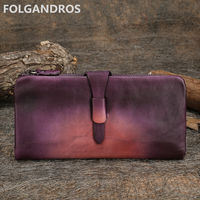 Brand Original Women's Wallet Handmade Genuine Cow Leather Vintage Lady Long Clutch Card Holder Purse Panelled Cell Phone Pocket