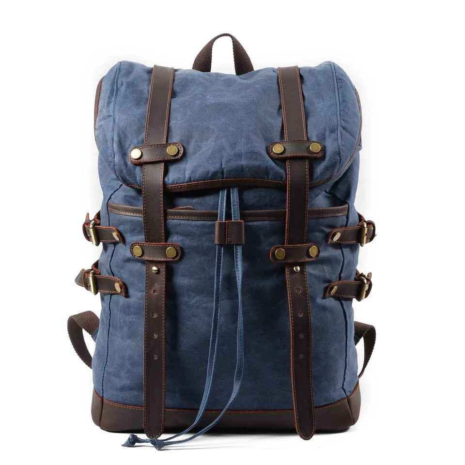 3b80890f5583 ... Men Backpacks Vintage Waxed Canvas Leather School Military Backpack  Male Large Capacity Waterproof Bagpack Travel Rucksack ...