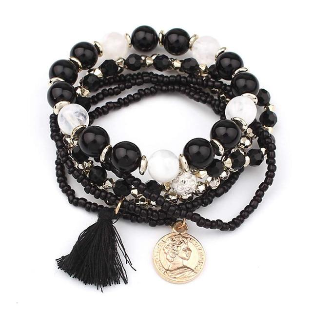 HOT Brand fishion Women girl Multilayer Beads Bangle Multiple colors Tassels Bracelets bangles 25#201809123010 1