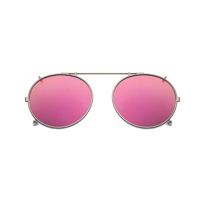 Redondos polarizados Clip Sobre Óculos De Sol Unisex Rosa Revestimento de Espelho óculos de Sol Óculos de Condução de Metal Sombra Oval Clip On Óculos uv400
