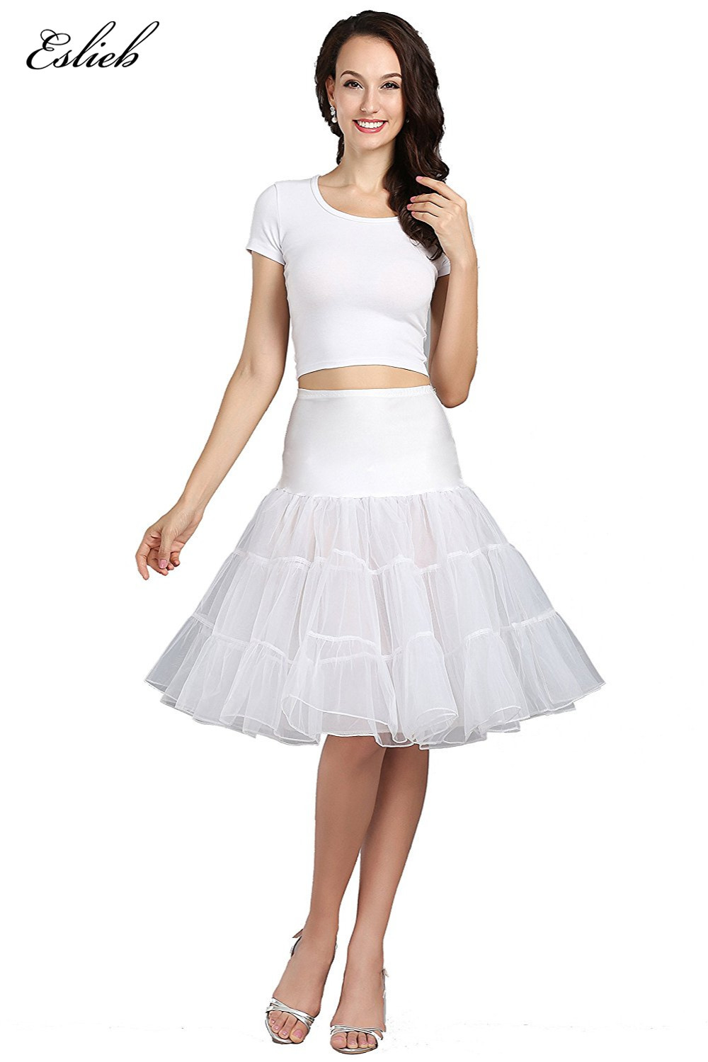 Free Shipping Short Mini Organza Tutu Petticoat Crinoline Underskirt Rockabilly for Prom