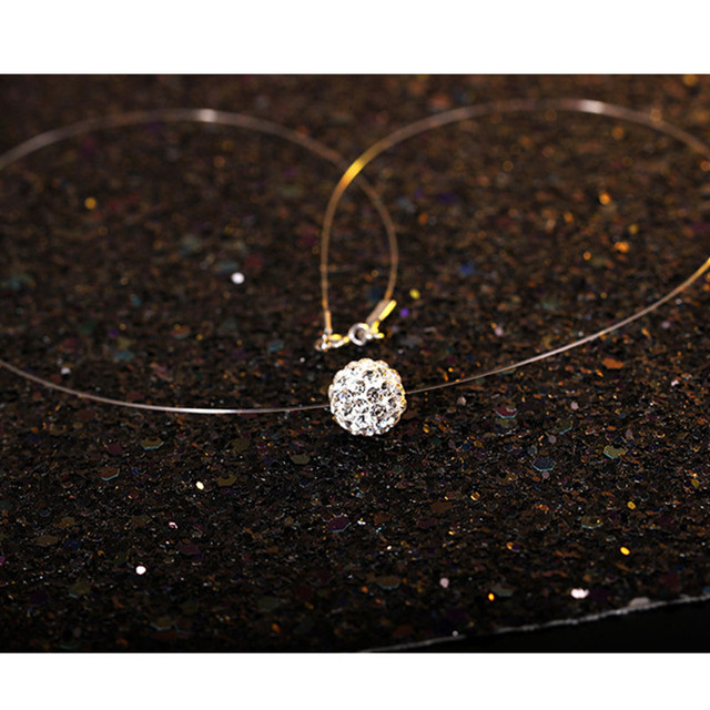 DoreenBeads Fashion Invisible Transparent Fishing Line Necklace Rhinestone Penda