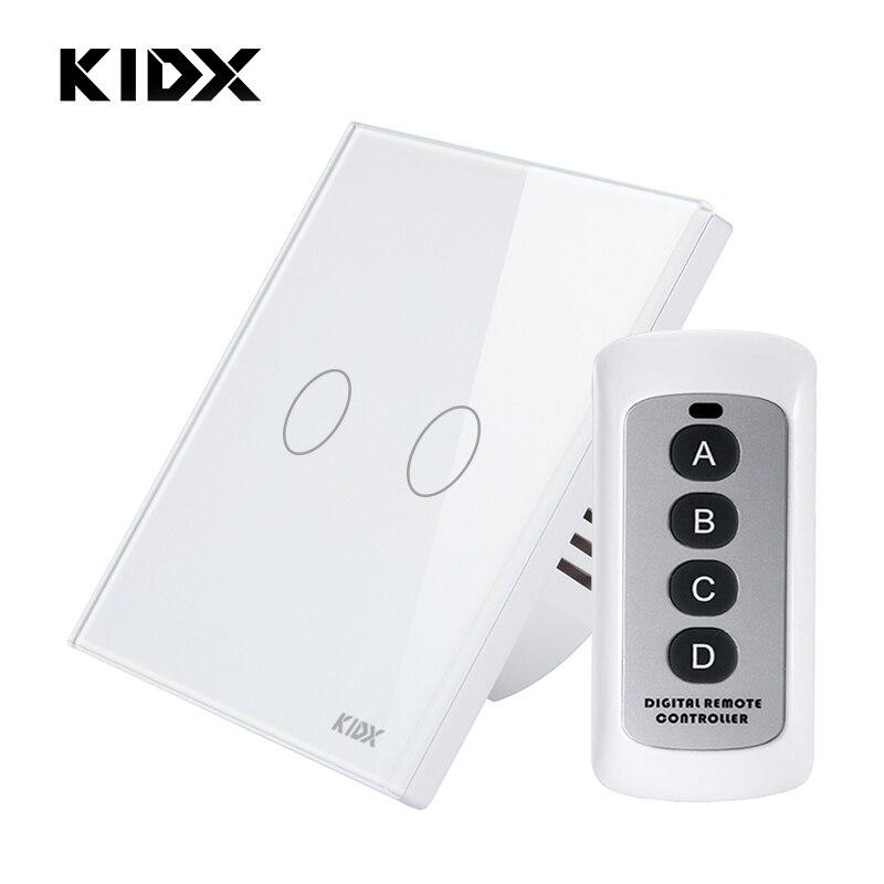Kidx Eu  Uk Standard Remote Control Switch 2 Gang 1 Way