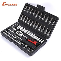 46pcs Car Ratchet Wrench Set 1/4 4 14 mm Sleeve For Car Motorcycle Bicycle Repair Tools Kit