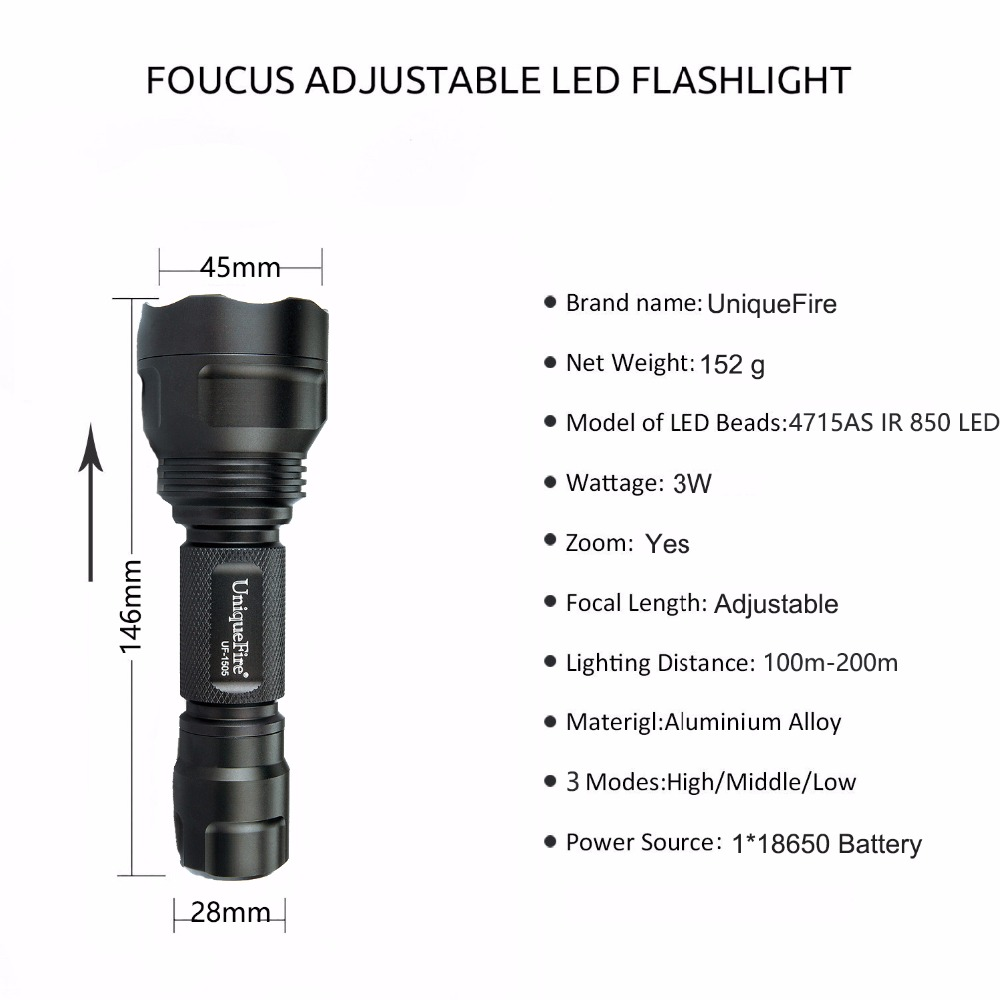 Led Lighting Led Flashlights Knowledgeable Uniquefire 1505 4715as Ir 850nm Mini Led Flashlight Upgraded Version Rechargeable Lamp Torch,scope Mount,charger,remote Pressure Goods Of Every Description Are Available