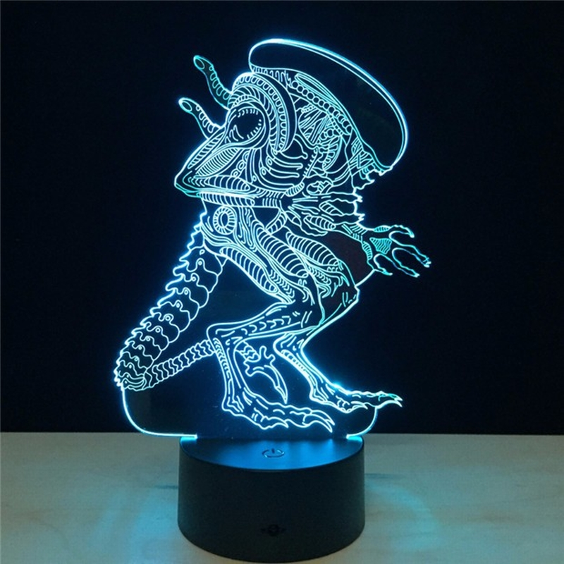 3D LED Alien vs Predator Lighting Mood Lamp 7 Colors Changing Lamparas with USB Cable
