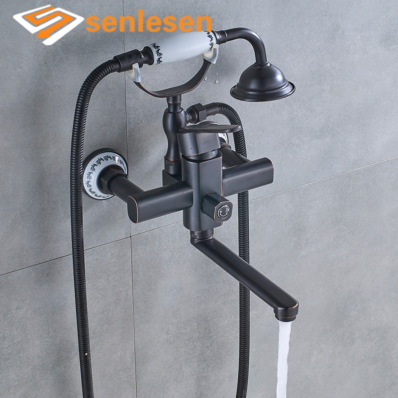 Senlesen Tub Faucet Oil Rubbed Bronze Bathroom Shower Faucets Wall Mounted W/ Hand Shower Cold and Hot Mixer Tap allen roth brinkley handsome oil rubbed bronze metal toothbrush holder
