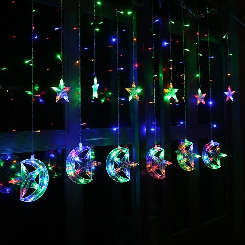 2.5 M 220 V UE Enchufe de Navidad LED Luces de Cortinas de Estrella y - Iluminación de vacaciones - foto 2