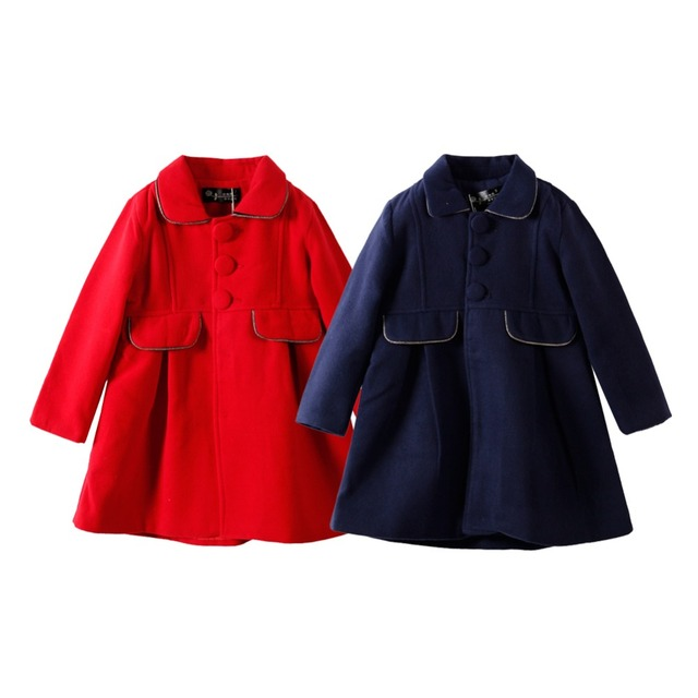 High Quality LittleSpring Girls Wool Coat Single-breasted Winter Princess Overcoat Trench Solid Nizi Jacket Baby Girl Long Coats