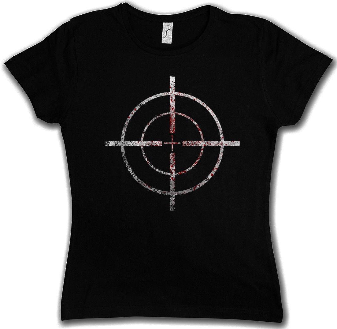 BLOODY CROSSHAIRS SNIPER WOMEN T-SHIRT - Call of Crosshair Duty Gun Ego-Shooter