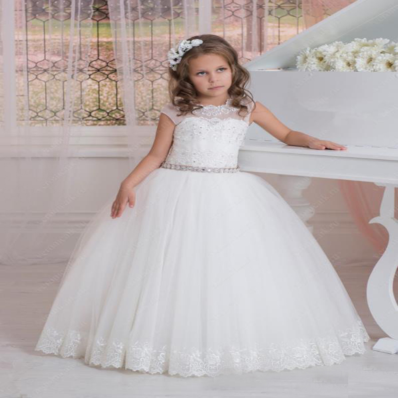 Lace Flower Girls Dresses for Wedding Long Pretty Mother Daughter Dress Ball Gown Tulle Princess Illusion Long Communion Dresses new spring pretty flower girls dresses tulle communion gown ball gown mother daughter dresses lace holy communion dresses