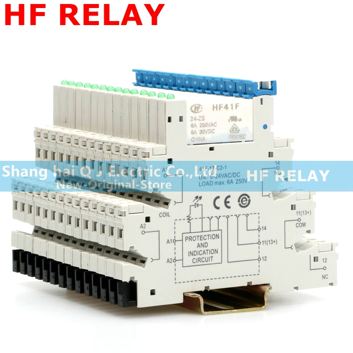 1PCS 41F-1Z-C2-1 HF41F 5V 12V 24V 6A 1CO Slim Relay Mount On Screw Socket With LED And Protection Circuit 24VDC/AC Wafer Relay
