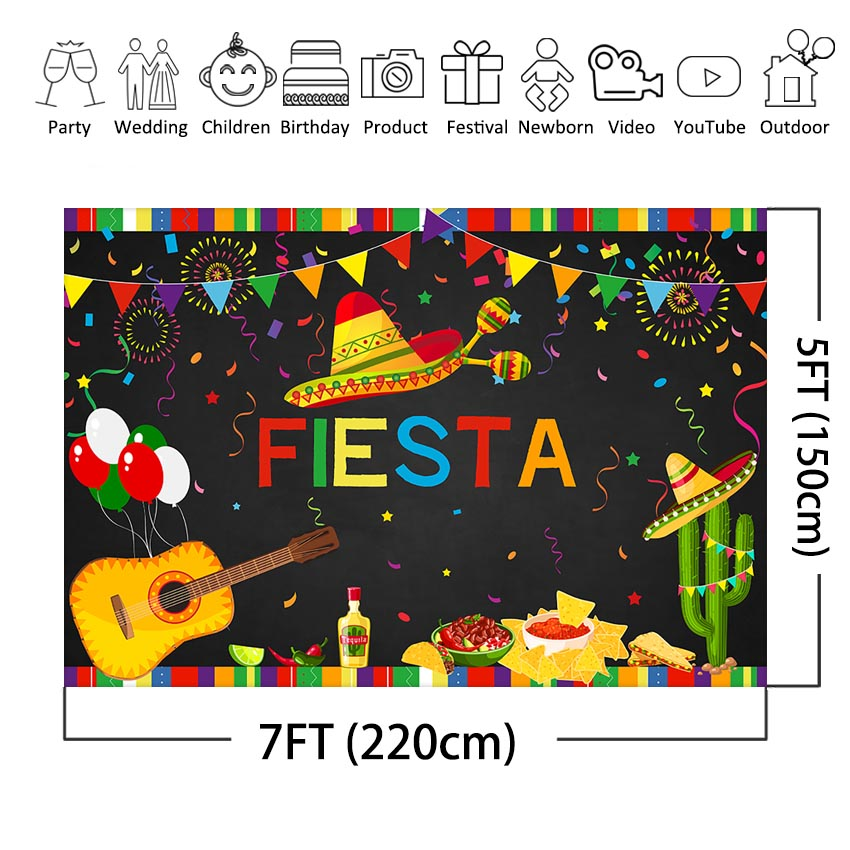 MEHOFOTO Fiesta Birthday Backdrop Mexican Fiesta Themed 1st Birthday Photo Booth Background Summer Luau Cinco De Mayo Party in Background from Consumer Electronics
