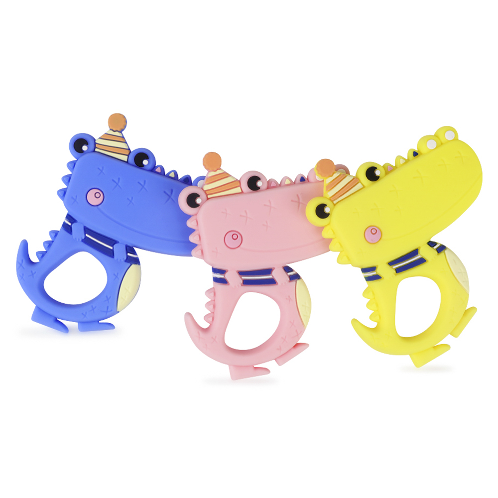 TYRY.HU 1Pc Silicone Teether Cartoon Crocodile Food Grade Silicone Baby Teething DIY Necklace Toys Nursing Accessories And Gifts