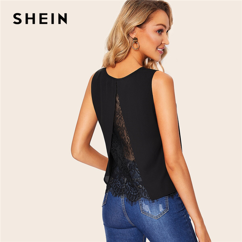 SHEIN Black or White Lace Insert Split Back Solid   Tank     Top   Women 2019 Summer V Neck Chiffon Casual Basics Workwear Vests   Tops