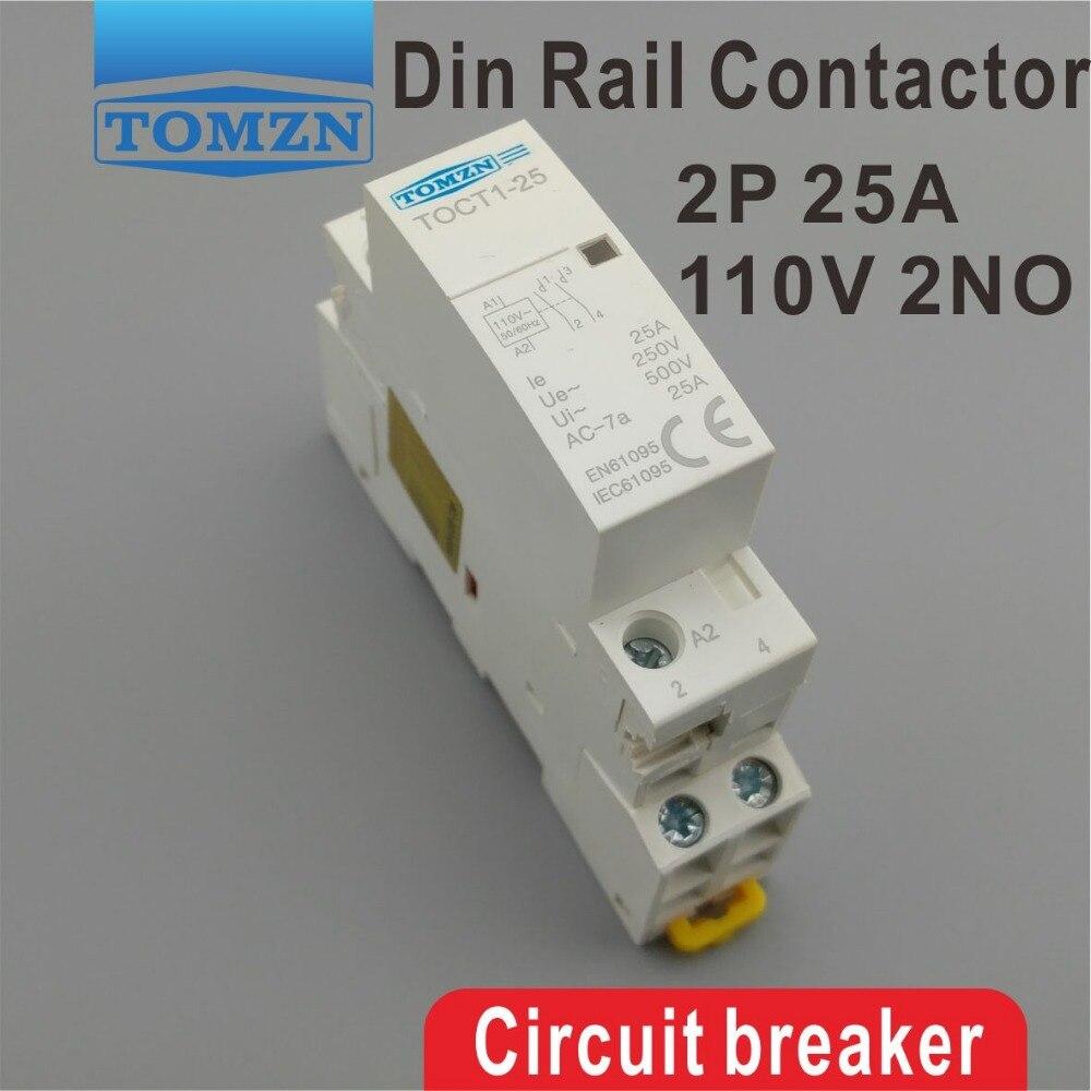 TOCT1 2 P 25A 110 V BOBINE 50/60 HZ rail Din Ménage ac contacteur Modulaire 2NO