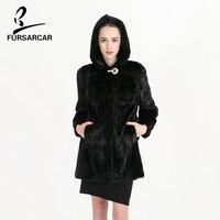 FURSARCAR Brand Fur Coat Real Mink Coats For Women Long Medium Type Hooded Mink Fur Coat
