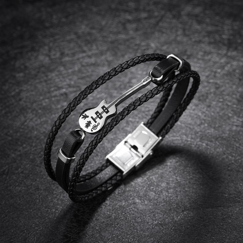 OBSEDE Mode Gitarre Armband Geflochtene Schwarz Leder Seil Multi Schicht Edelstahl Armreif für Männer Schmuck Punk Geschenk 21 cm