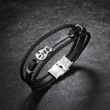 Obsede 패션 기타 팔찌 꼰 블랙 가죽 로프 멀티 레이어 스테인레스 스틸 팔찌 남자 보석 펑크 선물 21 cm