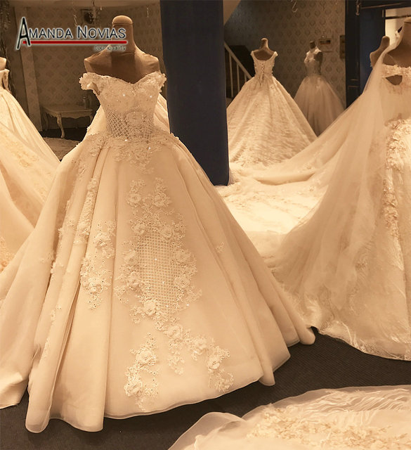2017 Por Lace Ball Gown Luxury Wedding Dress Amanda Novias Real Pictures Arabic Style