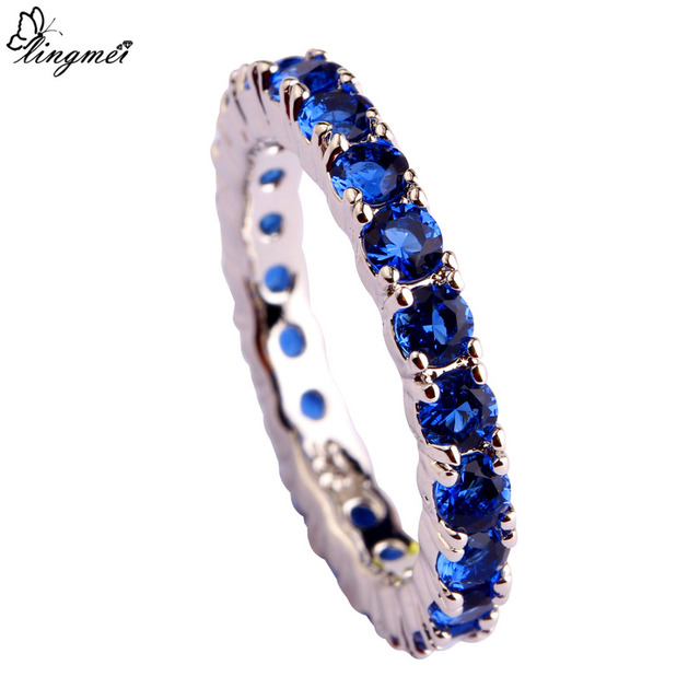 Blue AAA Silver Ring For Women Size 6 7  8 9 10 11 12 13