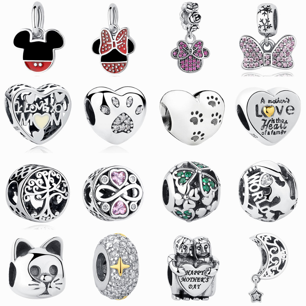 100% -os hiteles 925 ezüst ezüst Mickey Minnie világos CZ bájos - Divatékszer