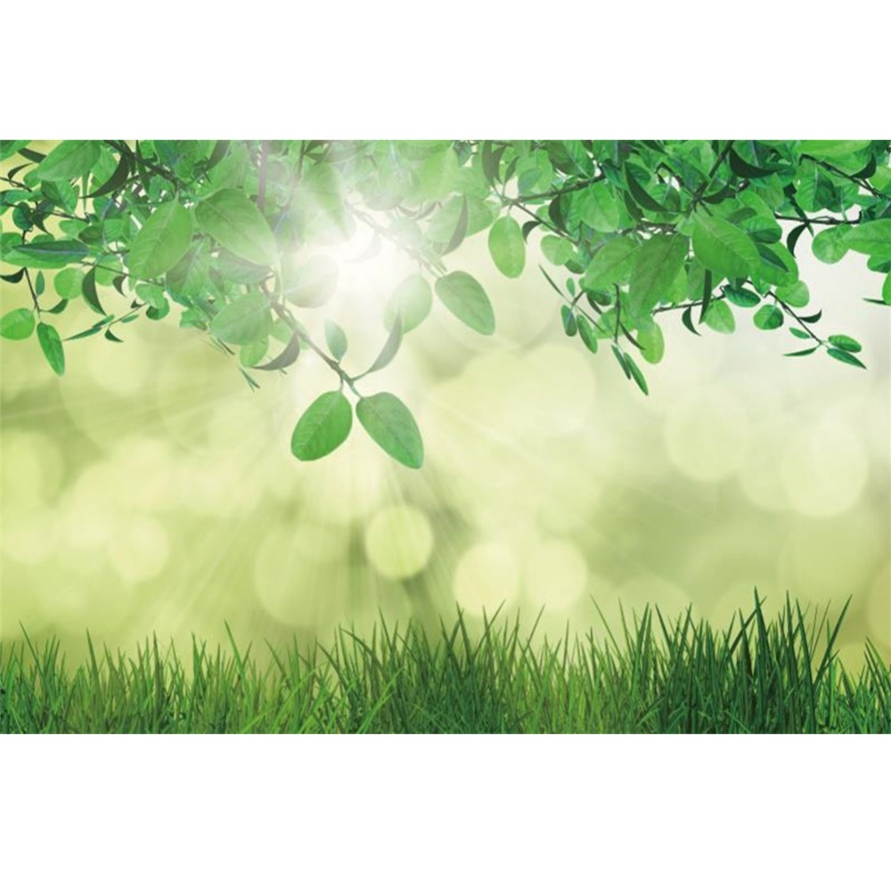 Laeacco Spring Green Leaves Grass Light Bokeh Baby Natural Scene Photographic Backgrounds Photography Backdrops For Photo Studio