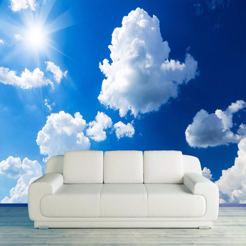 Custom 3D Photo Wallpaper Blue Sky White Clouds Sunshine Landscape Large Murals Wall Painting Living Room TV Background Decor free shipping deconstruction blue bird bird personalized painting large murals mak wallpaper custom size