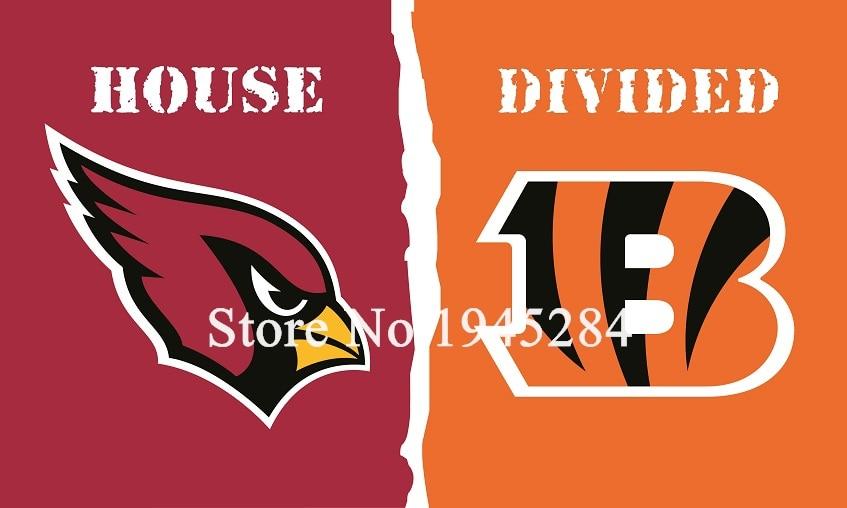 NFL Arizona Cardinals Cincinnati Bengals House Divided Flag 3x5ft 150x90cm Polyester Flag Banner, free shipping